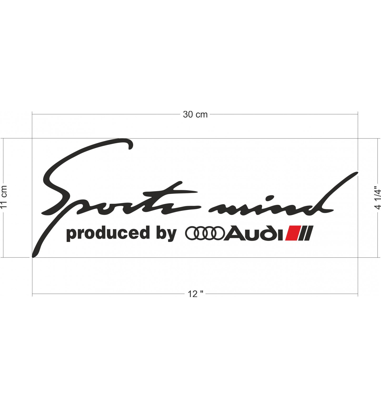 Sports Mind Powered By Audi Sport Vinyl Decal Sticker: Sports Mind Produced By Audi Sport Decal / Sticker M1